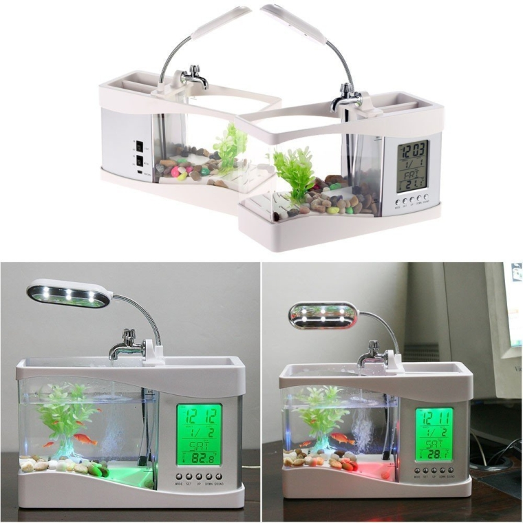 Mini USB LCD Desktop Lamp Light Aquarium Fish Tank with LED Clock
