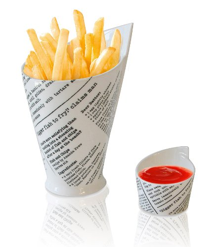 Newsprint French Fries & Sauce Cups