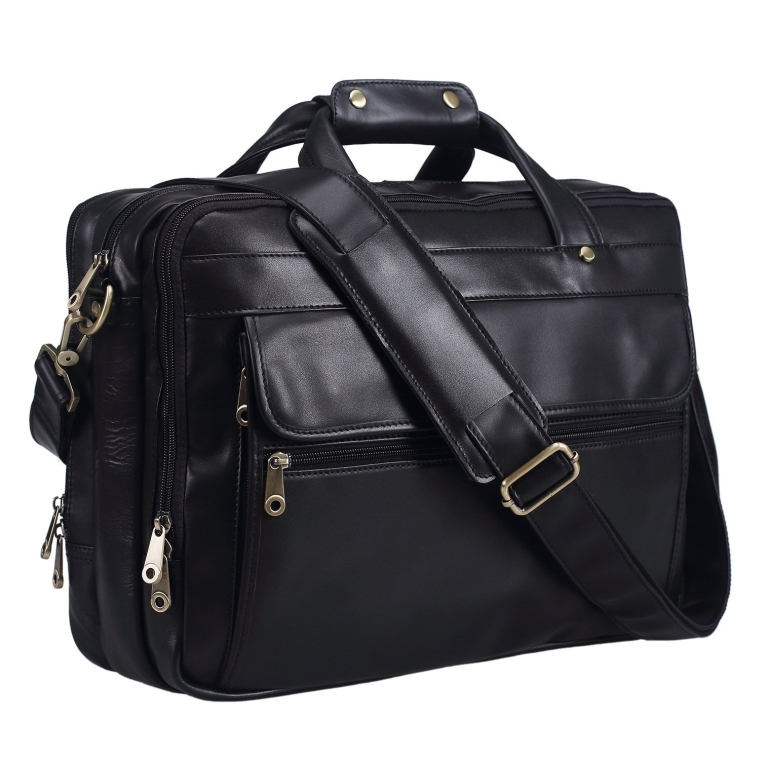 Polare Genuine Leather Men's Black Briefcase Laptop Bag Messenger Handbag