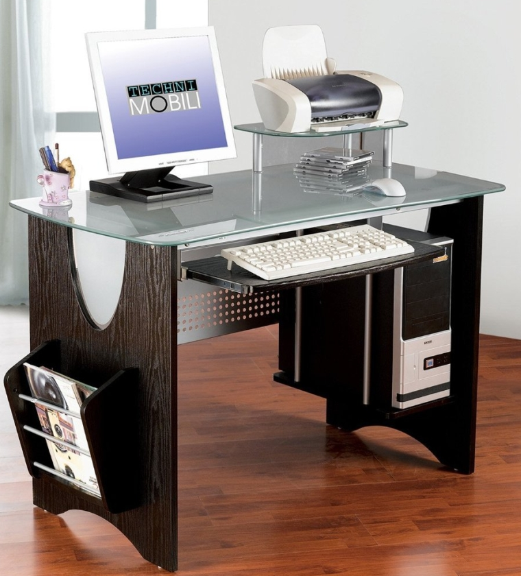 Stylish Frosted Glass Top Computer Desk With Storage 7