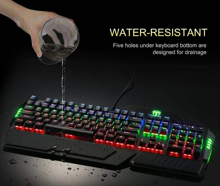 Water-Resistant 104-Key Wired Mechanical Gaming Keyboard