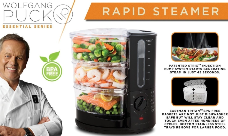 Wolfgang Puck 1400 Watt BPA-Free 3-Tier Rapid Food Steamer