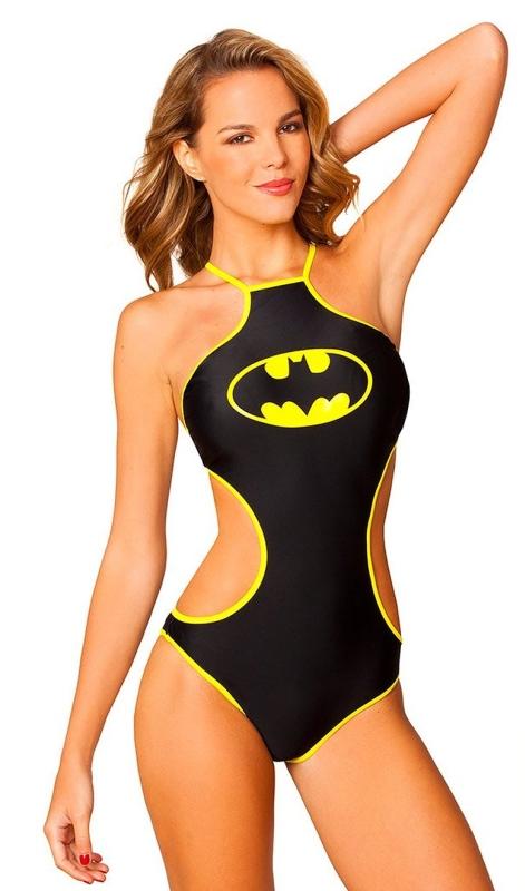 Batman High Neck Halter Monokini Black