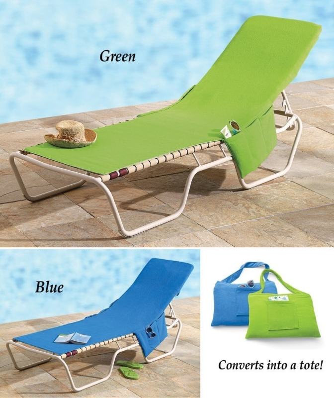 Beach Lounge Chair Cover Towel With Fitted Pocket Top
