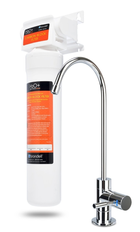 Brondell H2O+ Coral 1-Stage Under Counter Water Filter System with LED Faucet