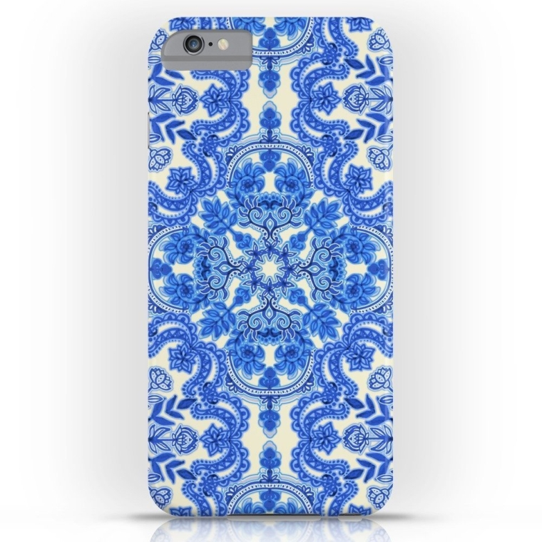 Cobalt Blue & China White Folk Art Pattern Slim Case iPhone 6s Plus