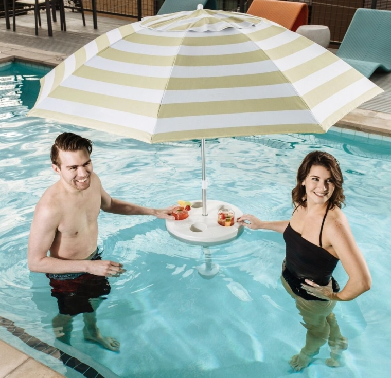 Coconut Cream Stripe Umbrella & Buoy