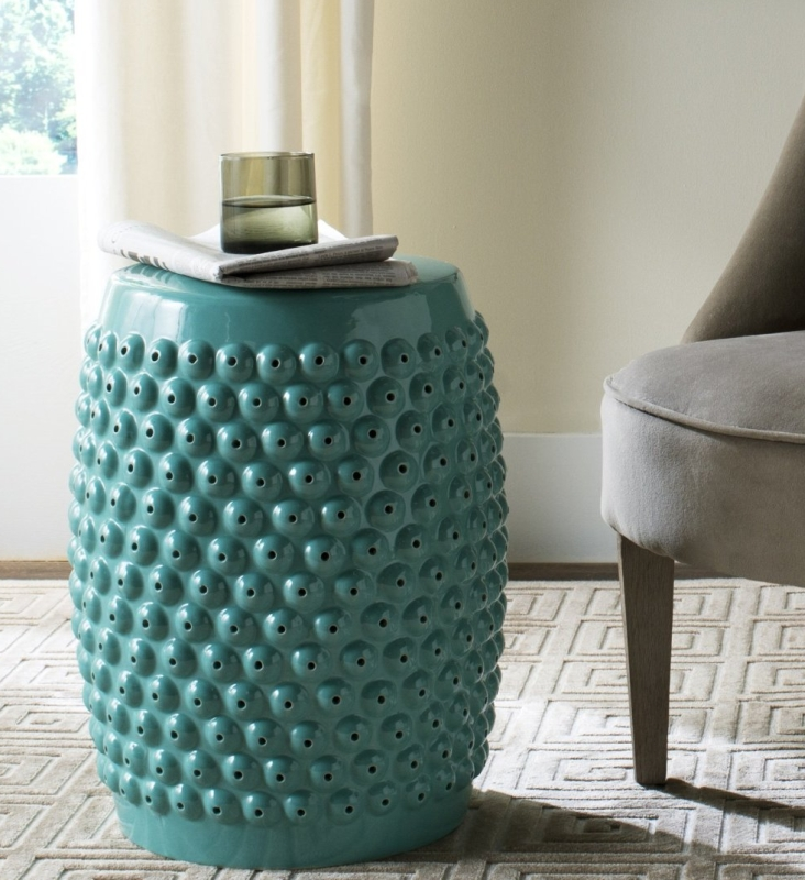 Collection Glazed Ceramic Aqua Stella Nail Head Garden Stool