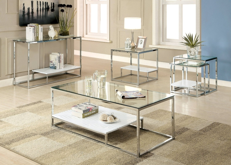 Contemporary Glass Top Nesting Table