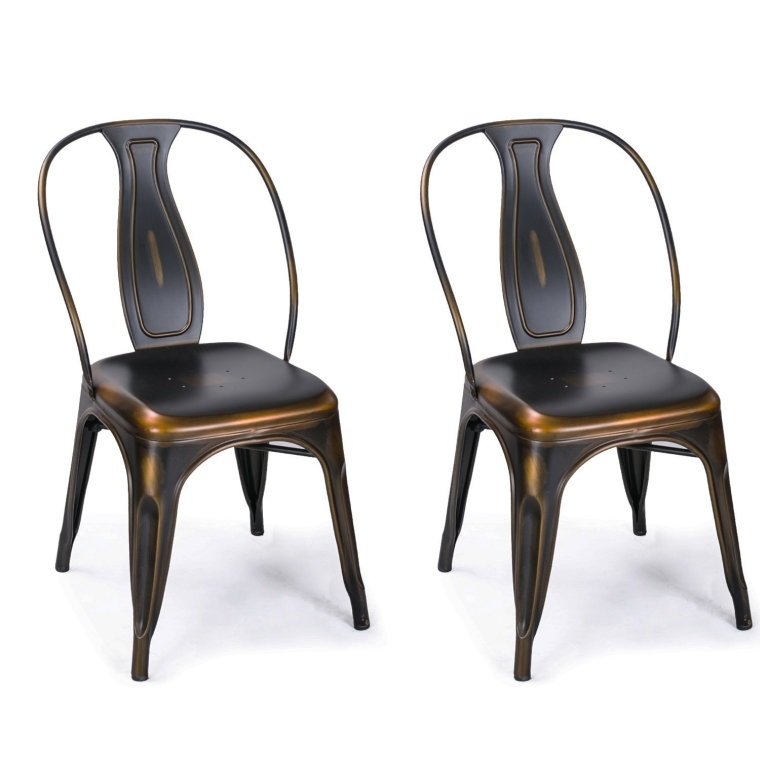 Copper bronze metal stackable dining chairs for Stackable dining room chairs