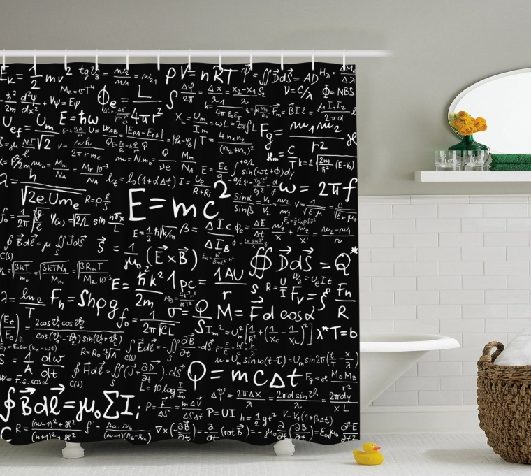 Einstein Physics Formula Science Geek Black White Fabric Shower Curtain