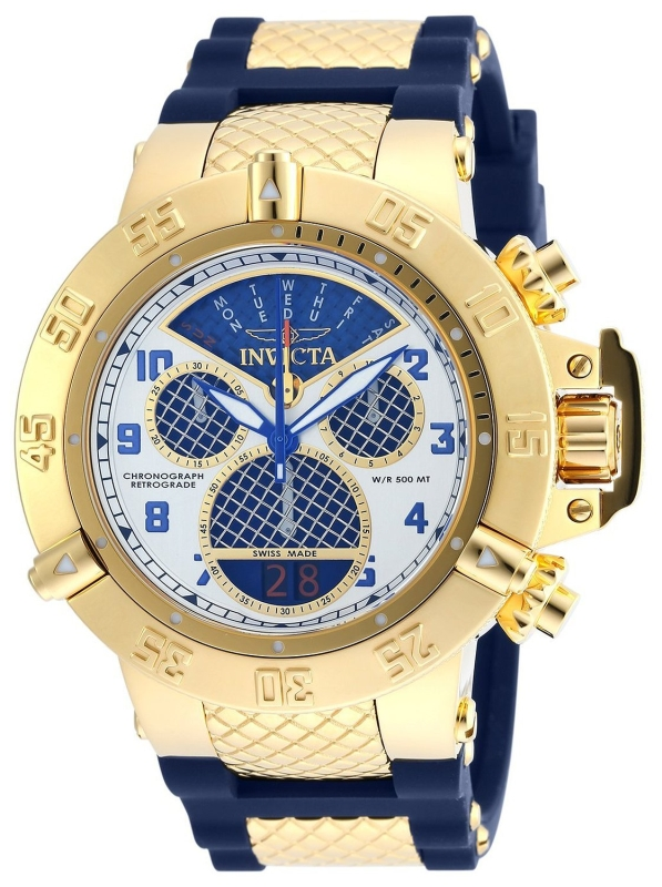 Invicta Mens Subaqua Noma III HIGH POLSISHED Gold Tone Case Swiss Made Silicone Strap Watch