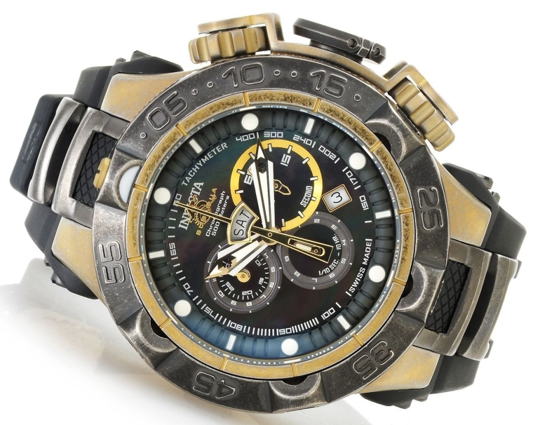 Invicta Mens Subaqua Noma V Men Stainless Steel Gunmetal & Gold Tone Stone Distressed 5050.E Quartz Watch