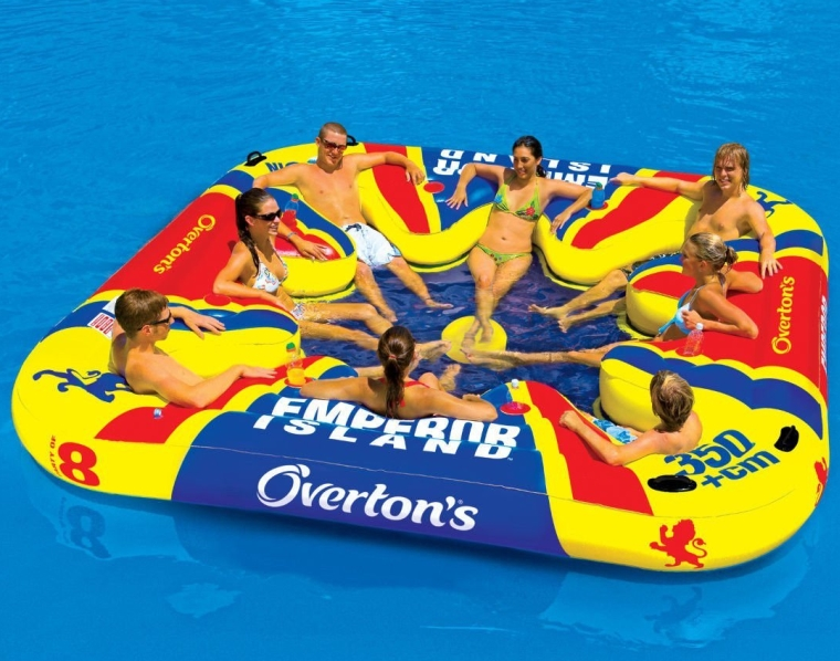 Island Party Lounge Raft River Lake Dock Inflatable