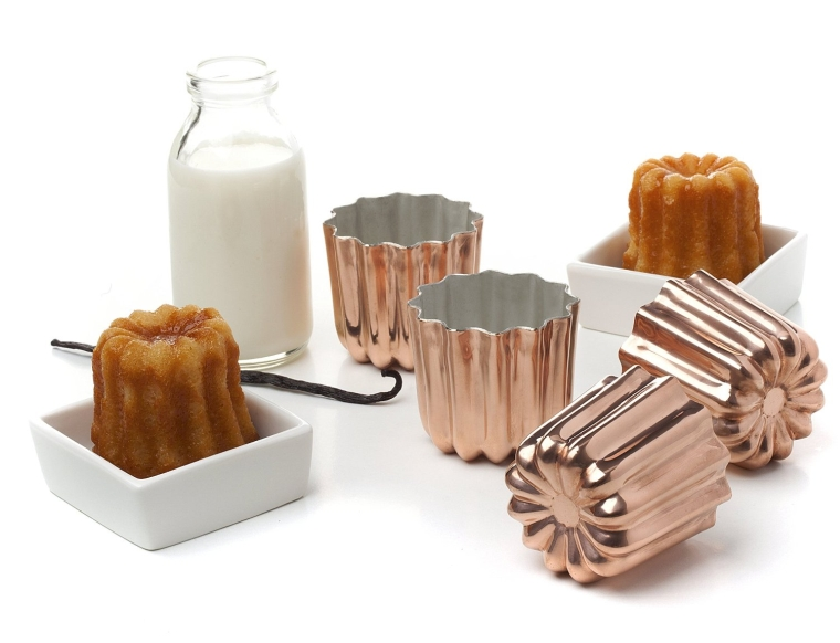 Pack of 4 Copper Tinned Interior Molds Cannele