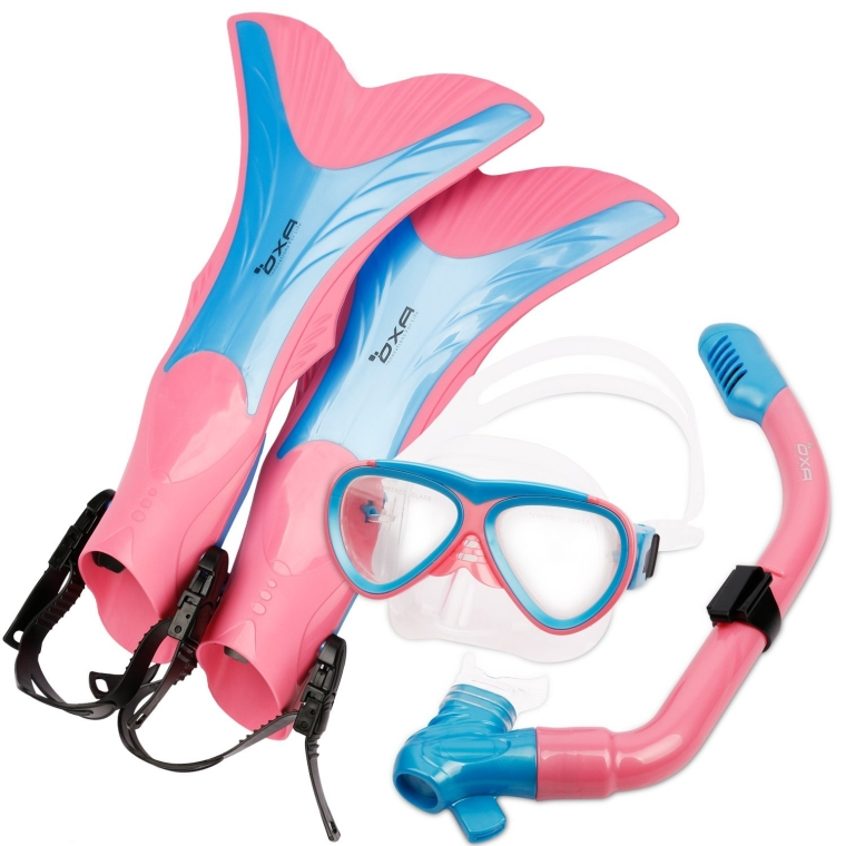 Scuba Diving Snorkel Set including Dry Top Snorkel, 2-Windows Tempered Glass Mask and Trek Fins for Kids