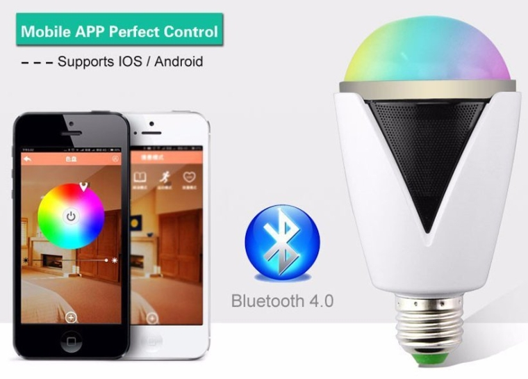 Smart Bluetooth 4.0 Multi Color Music Changing RGB E27 LED Light Bulb