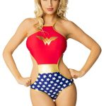 Wonder Woman Stars High Neck Monokini One Piece DC Comics Swimsuit