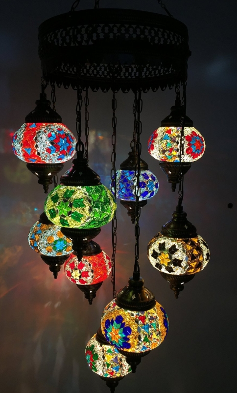 mosaic lamp chandelier moroccan lighting light glass Multicolor