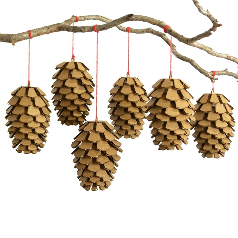Cardboard Pine Cone Set of Six