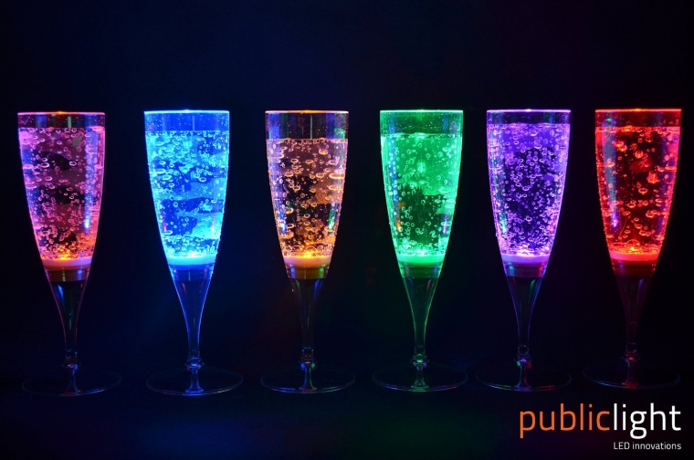 Color Changing Magic LED Lighting Champagne Flute Glasses