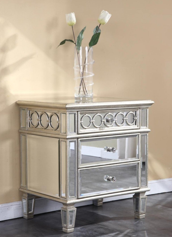 Elegant 3 Drawer Mirrored Night Stand End Table in Silver Leaf Finish