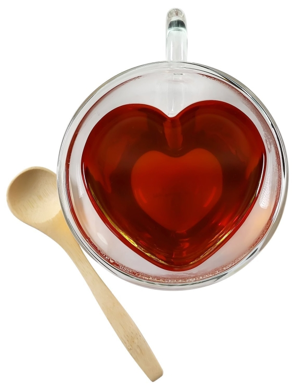 Heart Shaped Double Wall Insulated Glass Tea Cup Set