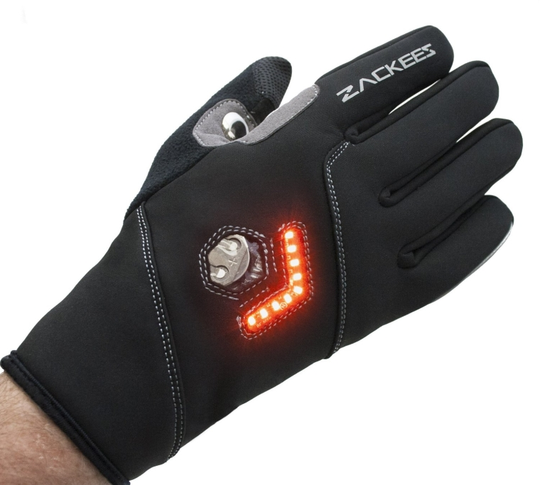 LED Turn Signal Bike lights in a cycling gloves