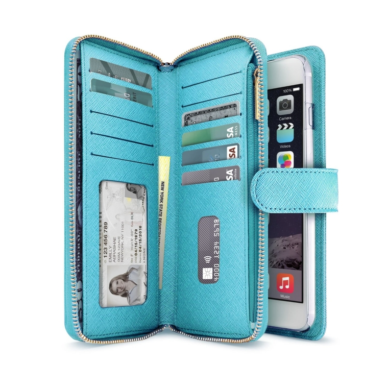 Leather Wallet Case (5.5) with Zipper & Button Closure, Saffiano Finish and Pockets to Store Credit Cards