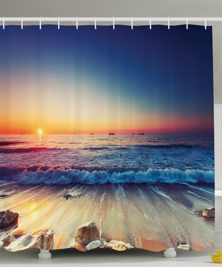 Nautical Decor Ocean Sunset Shower Curtain Set 7 Gadgets