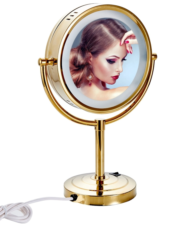 Tabletop Double-sided LED Lighted Makeup Mirror with 10x Magnification