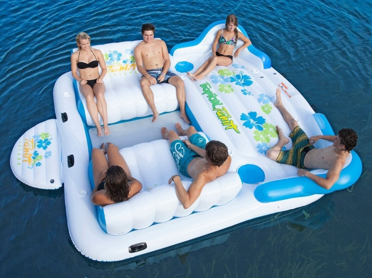 Tropical Tahiti Inflatable Floating Island 6 Person Capacity Contoured Sofas with Built-in Coolers