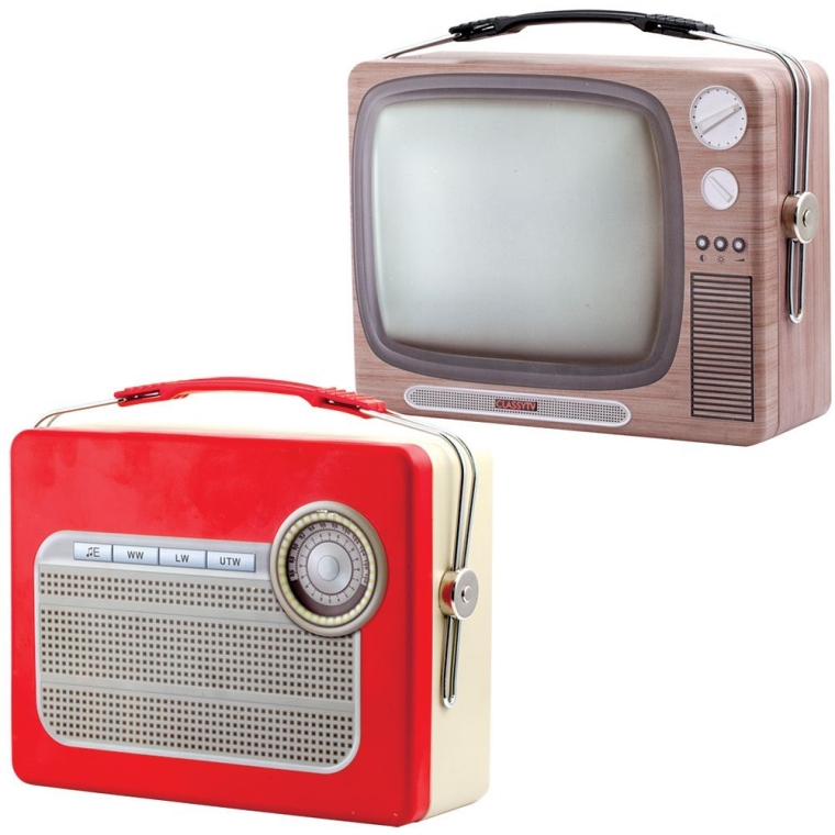 Vintage Radio and Television Food-Safe Tin Lunch Boxes