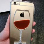 3d Aquarium Case Bling Goblet Dynamic Crystal Foot Cup Flowing Red Wine Glass Clear Hard Case
