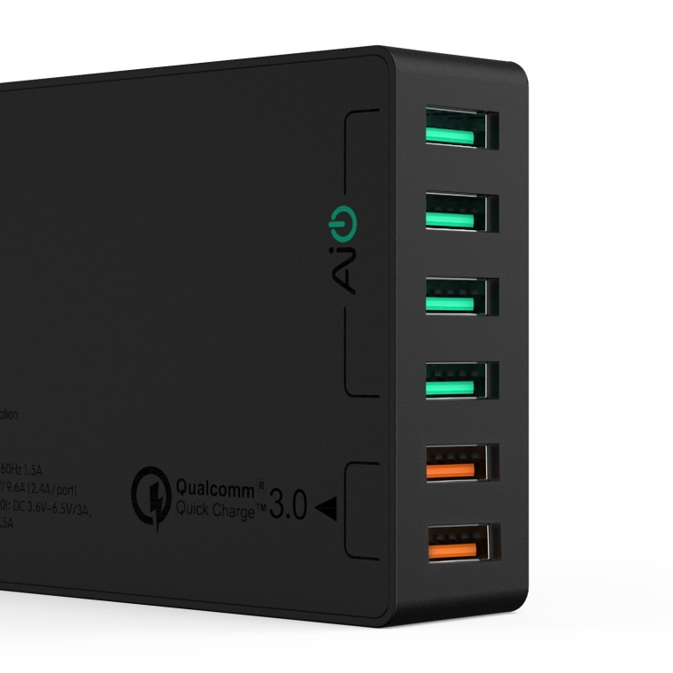 AUKEY USB Charger with Dual Quick Charge 3.0 Ports & 4 USB Ports