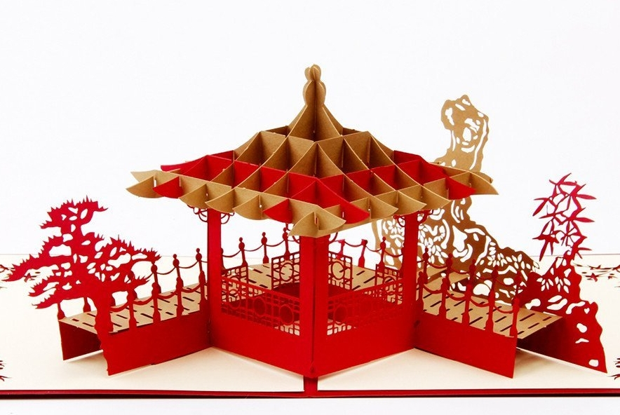 Chinese Pavilion 3D Pop Up Greeting Card Handmade