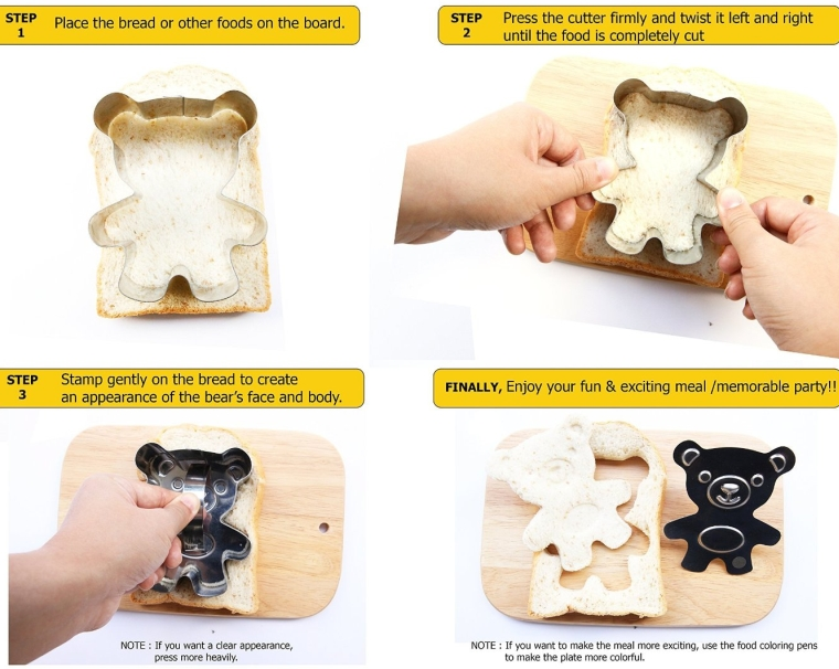 Cute Bear Sandwich Cutter for Kids