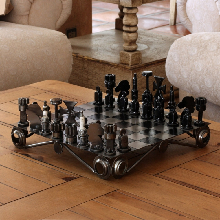 Decorative recycled metal chess set - Ornate chess sets ...