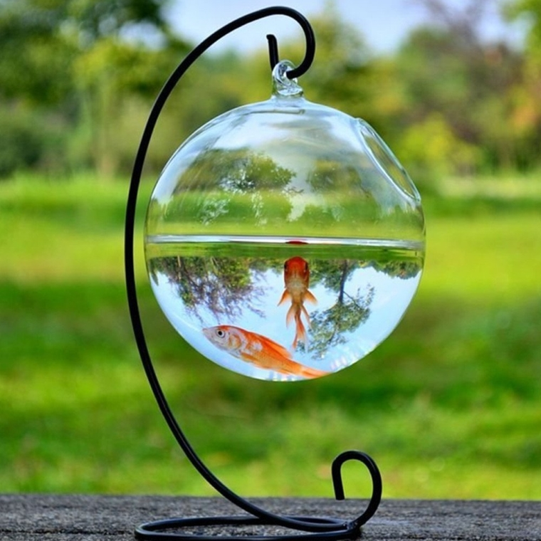 Glass Vase Fish Tank Transparent Spherical Fishbowl