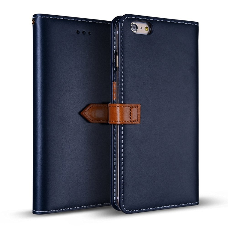 Handcrafted Genuine Leather Folio Flip Cover ID Card Slot Banknote Storage Smartphone Wallet Case