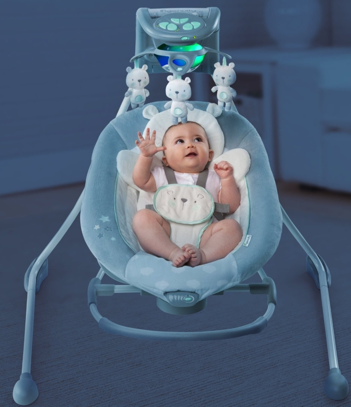 Ingenuity InLighten Cradling Swing & Rocker - Twinkle Twinkle Teddy Bear