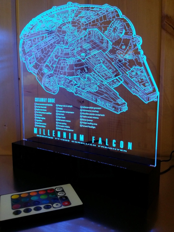 Millennium Falcon Laser Engraved 16 Color LED Light wRemote