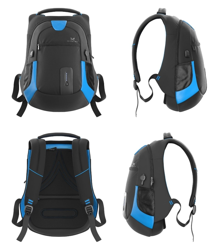 NRGbag Series Computer Laptop Messenger Backpack Book Bag + Battery Power Bank  Water Resistant  7000mAh