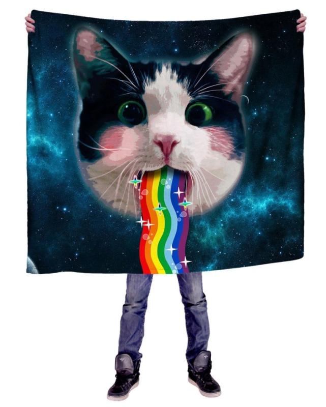 Rainbow Kitty Premium All Over Print Blanket