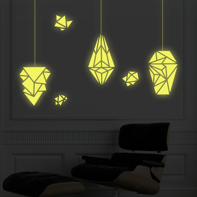 Removable Self-Adhesive Wall Stickers Geometric Lamps Glow in the Dark Mural Art Decals