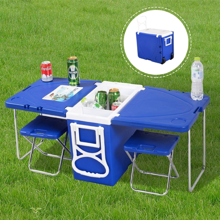 Rolling Cooler Box Wheeled Ice-chest With Table Chairs