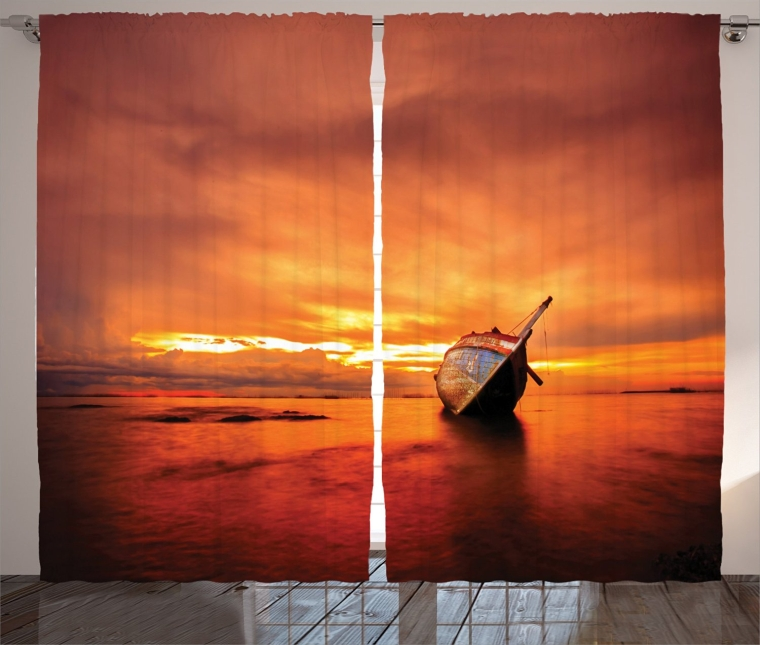 Sailboat Bends Down to the Sea at Dreamy Paradise Hazard Vividly Illuminated Sky Scenery, Living Room Bedroom Curtain