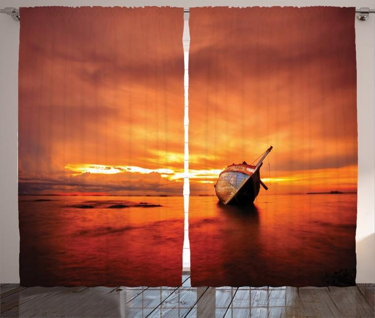 Sailboat Bends Down to the Sea at Dreamy Paradise Hazard Vividly Illuminated Sky Scenery, Living Room Bedroom Curtain