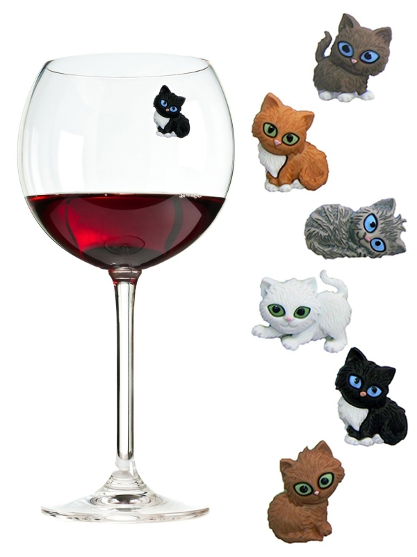 Simply Charmed Cat Wine Charms or Glass Markers