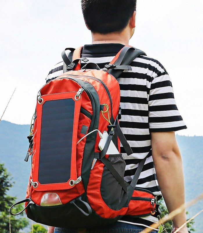 Solar Powered Backpack External Frame Hiking Bag Pack with Solar Charger Panel & 10000 mAh Power Bank